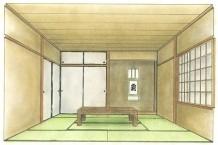 和室デザイン/和室の平面図、展開図を元に、1消点透視図法・測線法を使用し、インテリアパースを作成。ただパースを書くのではなく空間のデザインや和室の用語と「和」のルールを考える。