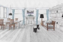 パース/LDKの平面図、展開図を元に、1消点透視図法・測線法を使用し、インテリアパースを作成。ただパースを書くのではなく空間のデザイン、コーディネートを考え、オリジナルの家具や市販の家具を立体に起こす練習をする。