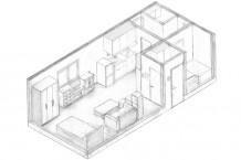 ドローイング/手書きによる設計製図。平面、立面、断面、展開図、天井伏図、詳細図などの作成を通して、作図の方法、製図のルールを覚える。